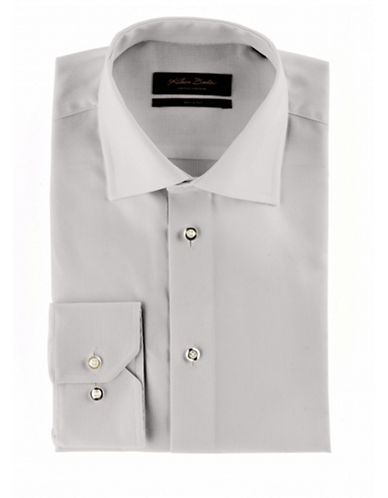 Klauss Boehler Dry and Fly Dress shirt with Berlin spread collar-GREY-16