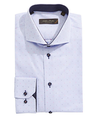 Klauss Boehler Long Sleeve Cotton Dash Dress Shirt-LIGHT BLUE-16.5