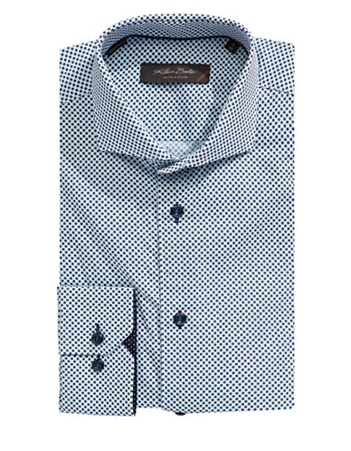 Klauss Boehler Fine-Tile Print Dress Shirt-NAVY-17