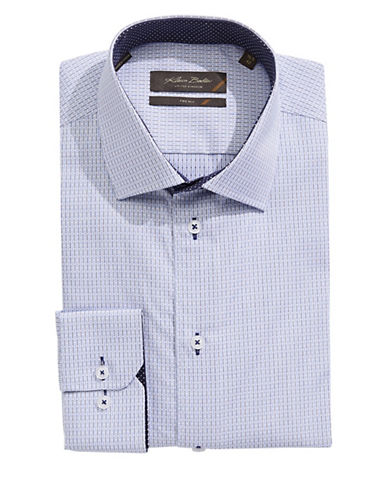 Klauss Boehler Long Sleeve Cotton Broken Dash Dress Shirt-LIGHT BLUE-14.5
