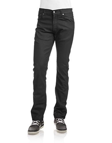Horst Karl Coated Straight Fit Jeans-BLACK-33