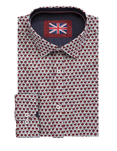 Soul Of London Floral Dress Shirt-BURGUNDY-18