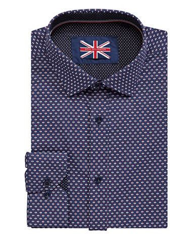 Soul Of London Diamond Dress Shirt-NAVY-16.5