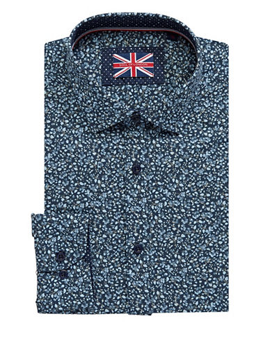 Soul Of London Floral Dress Shirt-NAVY-17.5
