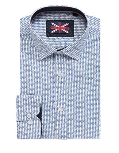 Soul Of London Paper Clip Dress Shirt-BLUE-18