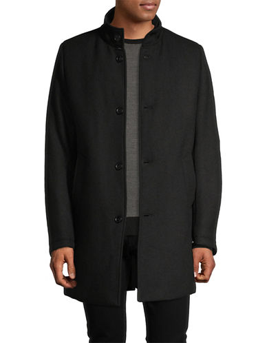 Soul Of London Fitted Textured Dress Shirt-NAVY-17
