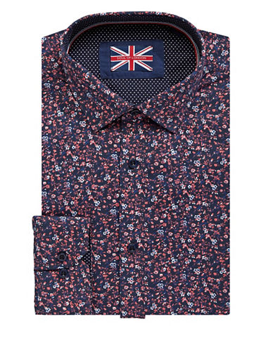 Soul Of London Floral Dress Shirt-NAVY-17