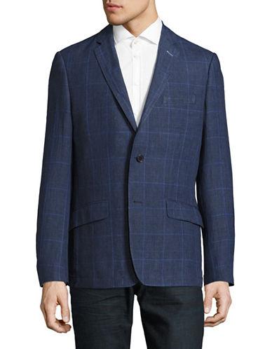 Horst Linen Check Sport Jacket-BLUE-48