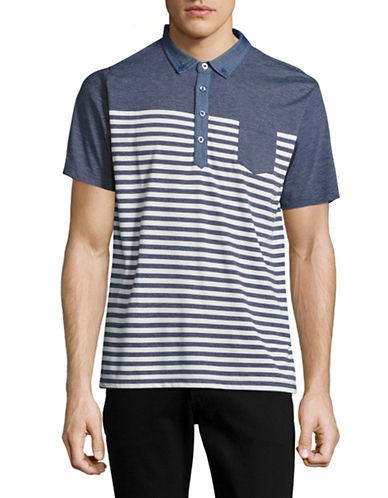 Horst Stripe Blocked Jersey Polo-BLUE-Large