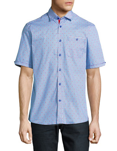 Horst Slim Fit Layered Grid-Print Shirt-BLUE-X-Large