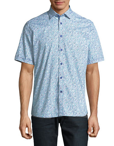 Horst Slim Fit Ditsy Floral Shirt-BLUE-X-Large