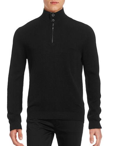 Horst Quarter-Zip Waffle Knit Sweater-BLACK-Medium 88836349_BLACK_Medium