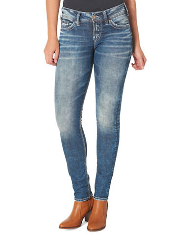 Silver Jeans Elyse Mid-Rise Skinny Jeans-INDIGO-31X31