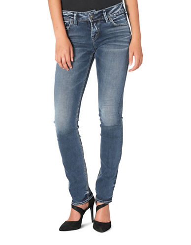 Silver Jeans Elyse Mid-Rise Straight Jeans-INDIGO-34X32