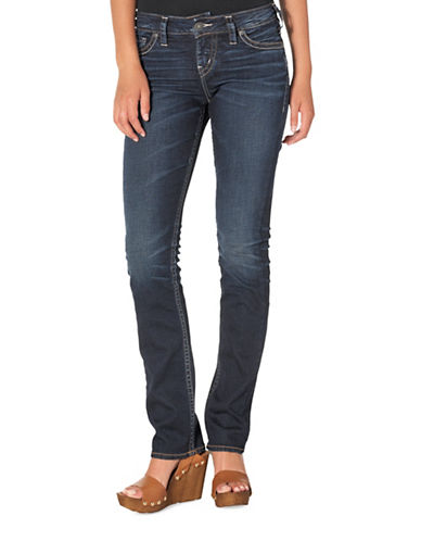 Silver Jeans Suki Mid-Rise Straight Jeans-INDIGO-25X32