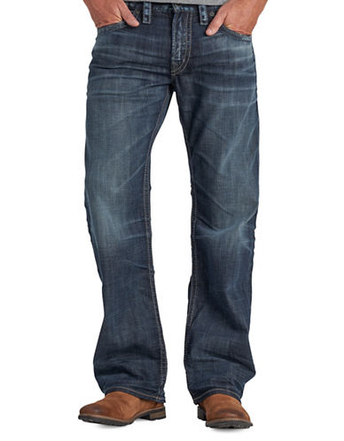 Silver Jeans Zac Faded Casual Stretch Jeans-BLUE-34X30