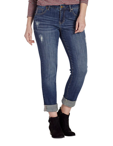 Jag Jeans Distressed Carter Girlfriend Jeans-BLUE-0