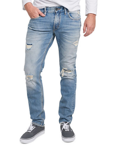 Silver Jeans Taavi Distressed Stretch Jeans-BLUE-36X34