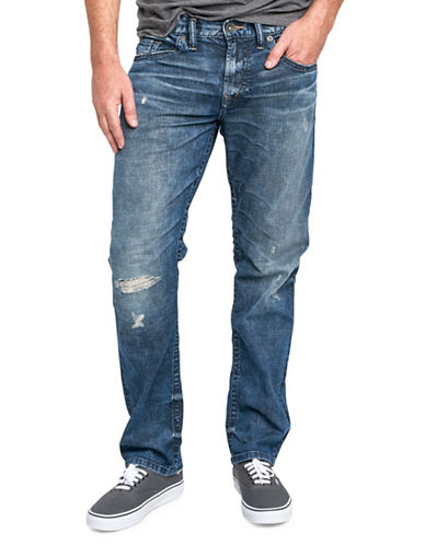 Silver Jeans Eddie Distressed Stretch Jeans-BLUE-32X34