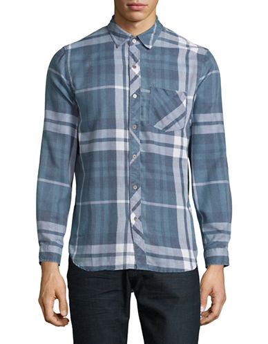 Kuwalla Tee Plaid Flannel Shirt-BLUE-Large