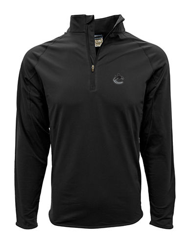 Levelwear Vancouver Canucks Half Zip Sweatshirt-BLACK-XX-Large