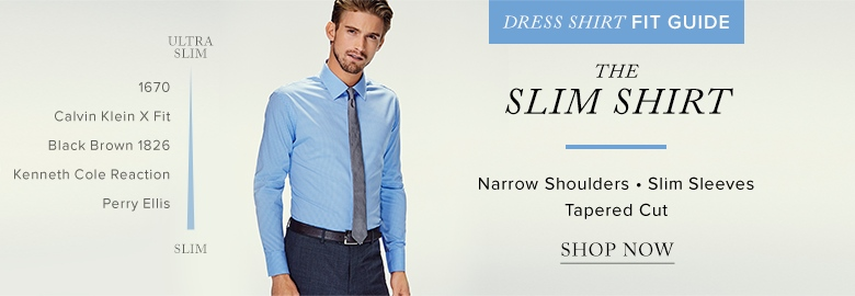 Men's slim dress shirts by ralph lauren, calvin klein, black brown 1826 and  more