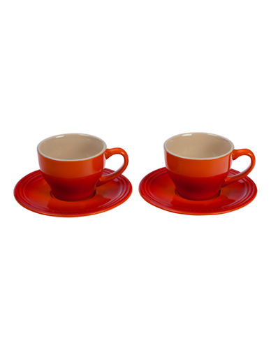 Le Creuset Set of 2 200ml Stoneware Cappuccino Cups-FLAME-One Size