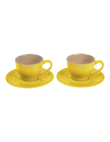 Le Creuset Set of 2 200ml Stoneware Cappuccino Cups-SOLEIL-One Size