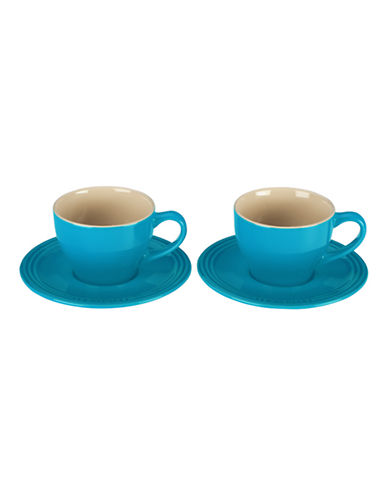 Le Creuset Set of 2 200ml Stoneware Cappuccino Cups-CARIBBEAN-One Size