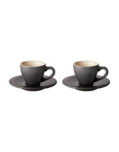 Le Creuset Four-Piece Espresso Cups and Saucers Set-GREY-One Size 89020293_GREY_One Size