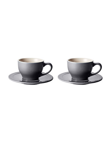 Le Creuset Four-Piece Cappuccino Cups and Saucers Set-OYSTER-One Size