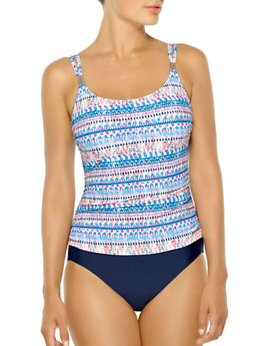 Christina Blue One-Piece Double Strap D-Cup Swimsuit-MULTICOLORED-16D