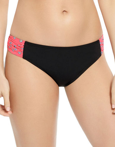 Captiva Aqualina Dot Island Hipster Bikini Bottom-BLACK/PINK-X-Large