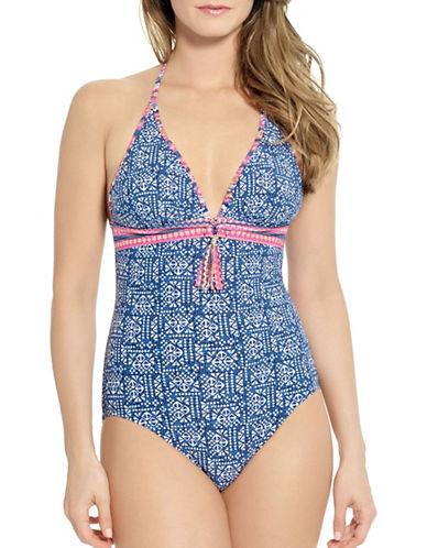 Captiva Isla Del Sol One-Piece Halter Swimsuit-BLUE-Large