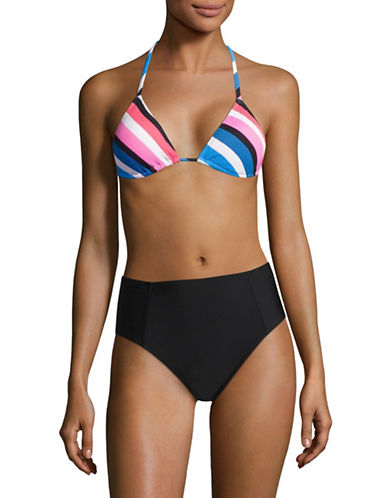 Design Lab Lord & Taylor Striped Textured Triangle Bikini Top-BLUE MULTI-Large