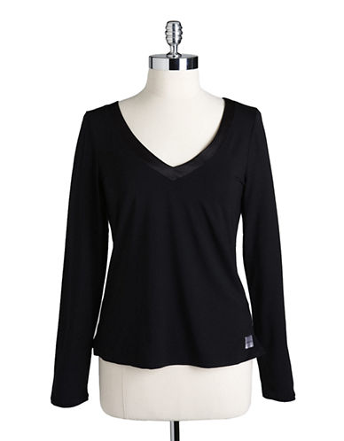 Calvin Klein Essentials With Satin Long Sleeve V  Neck Pj Top-BLACK-Large 84385008_BLACK_Large