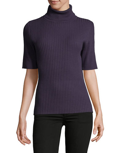 Jones New York Ribbed Turtleneck Top-PURPLE-X-Large