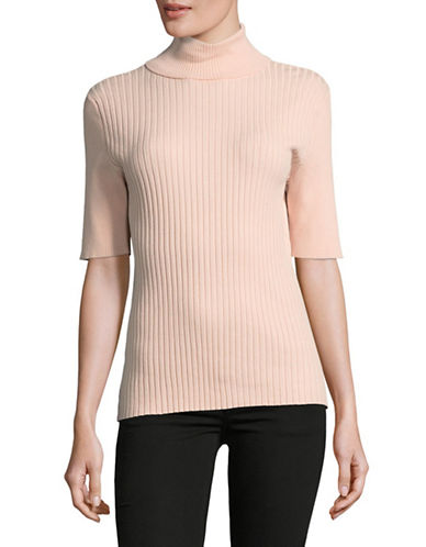 Jones New York Ribbed Turtleneck Top-BEIGE-Medium