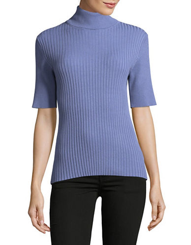 Jones New York Ribbed Turtleneck Top-DUSK-X-Large