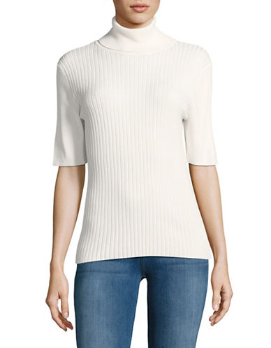 Jones New York Ribbed Turtleneck Top-IVORY-X-Large