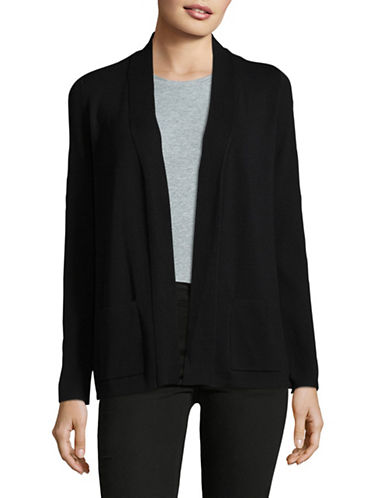 Jones New York Ribbed Long Cardigan-BLACK-X-Large