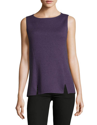 Jones New York Fitted Sleeveless Tee-PURPLE-Medium