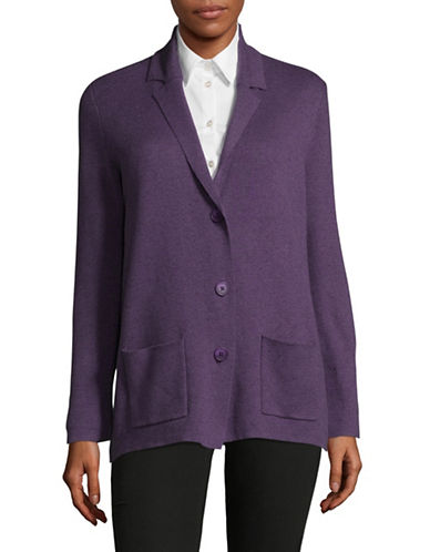 Jones New York Notch Collar Sweater Jacket-PURPLE-X-Large