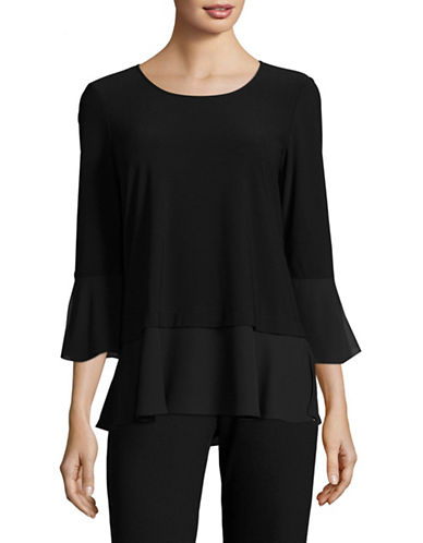 Jones New York Layered Bell Sleeve Shirt-BLACK-Large