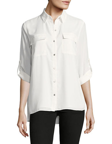 Jones New York Classic Cuff Blouse-IVORY-X-Large