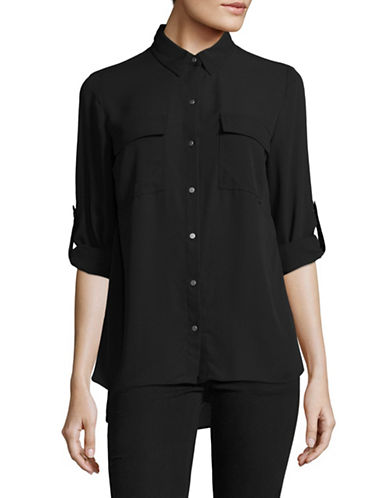 Jones New York Classic Cuff Blouse-BLACK-Large