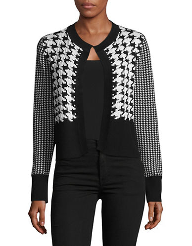 Jones New York Texture Print Open Front Cardigan-BLACK IVORY COMBO-X-Large