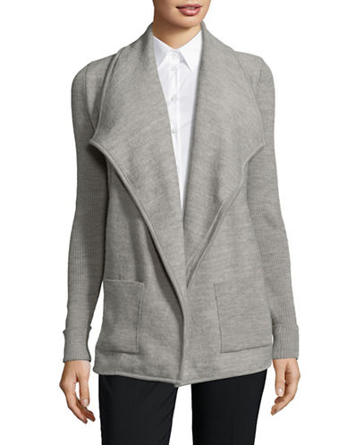 Jones New York Open Front Sweater Jacket-GREY-Small