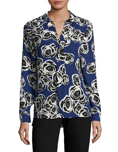 Jones New York Floral Print V-Neck Tunic-FRENCH BLUE COMBO-Medium