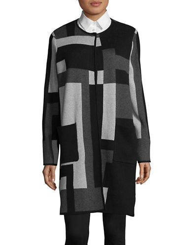 Jones New York Geometric Coat-GREY-Large